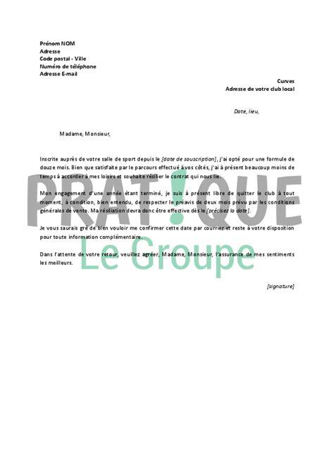 Resiliation Contrat Salle De Sport Lettre De R 233 Siliation Pratique Fr