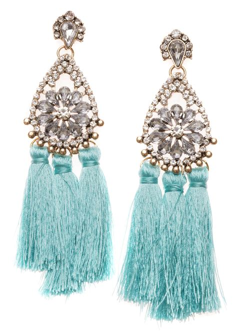 turquoise tassel earrings happiness boutique