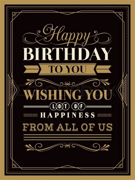 Birthday Card Vintage Template by Vintage Happy Birthday Card Typography Border And Frame