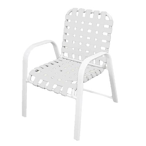 Patio Chair Straps Marco Island White Commercial Grade Aluminum Patio Dining Chair With White Vinyl Cross Straps 2