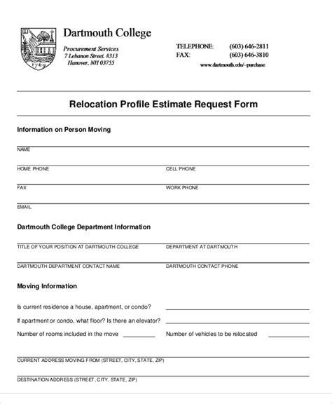 estimate request form 9 sle estimate request forms sle templates