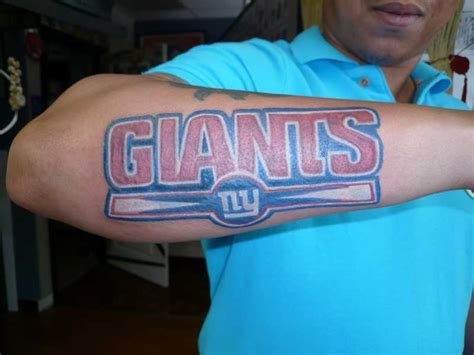 ny giants tattoo nfl football this fan is true to his team