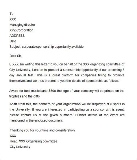 Corporate Sponsorship Letter For Mba by Sponsorship Letter 7 Free For Word