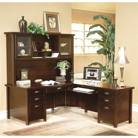 l shaped executive desk with hutch kathy ireland home l shaped executive desk with hutch in