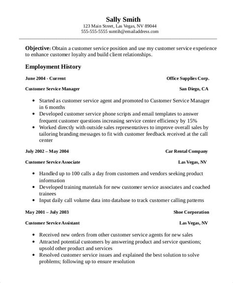 Resume Template For Customer Service by 11 Customer Service Resume Templates Pdf Doc Free