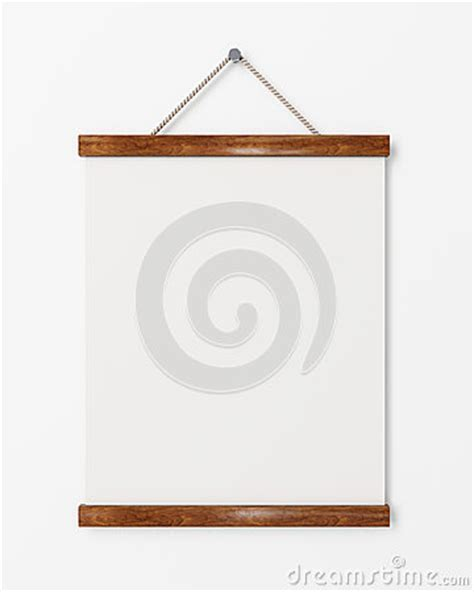 mock up blank poster with wooden frame hanging on the