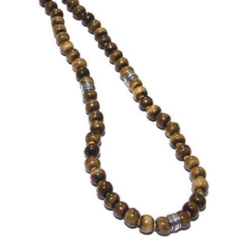 silver bone bead deerskin leather s necklace