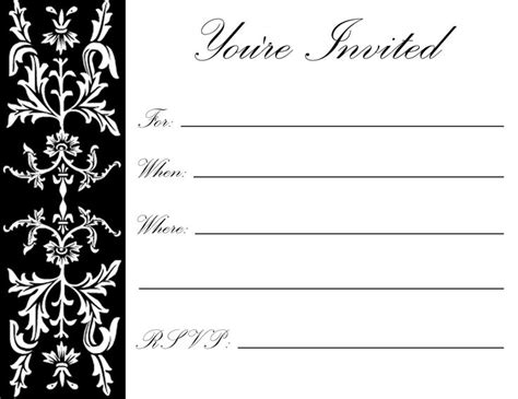 8 Best Images Of Printable Party Invitations For Adults Free Printable Birthday Invitations Black And White Invitation Template