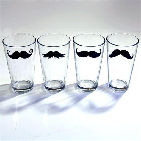 fun barware mustache drinking glass fun drinking glassware bar ware 4 piece se