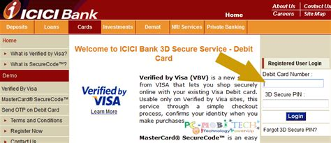 reset password online icici direct create change and reset 3d secure pin icici bank debit