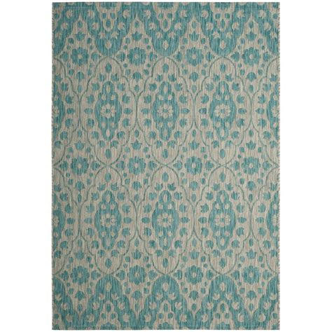 martha stewart rugs home depot safavieh martha stewart gray aqua 5 ft 3 in x 7 ft 7 in indoor outdoor area rug msr4115