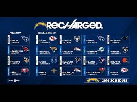 charger schedule chargers 2016 schedule released
