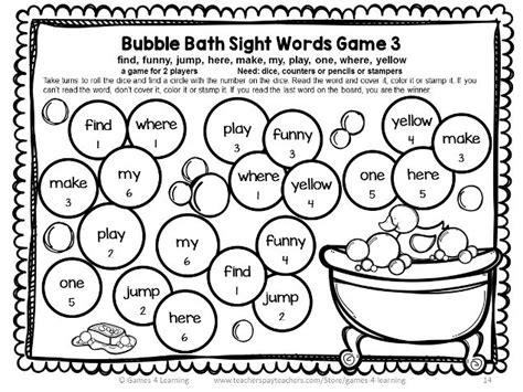free printable dolch word games dolch sight words games pre primer list pre primer sight
