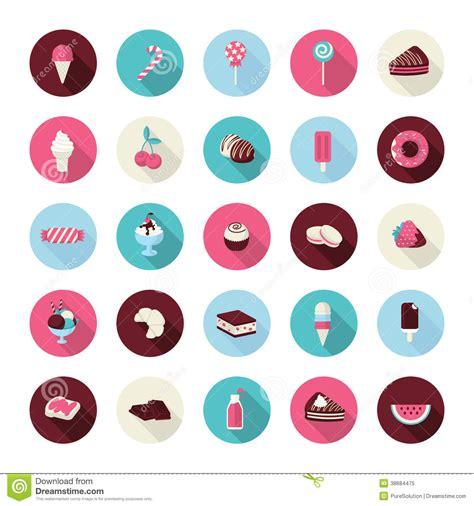 set  flat design dessert icons royalty  stock photo