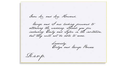 Response Letter For Birthday Rsvp Etiquette Traditional Rsvp Folled Out