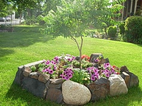 flower bed rocks rock flower bed in my garden pinterest