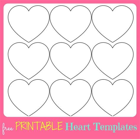 printable images of valentine hearts free printable heart templates large medium small