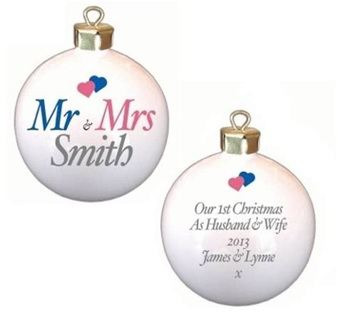 personalised mr and mrs christmas baubles by british and