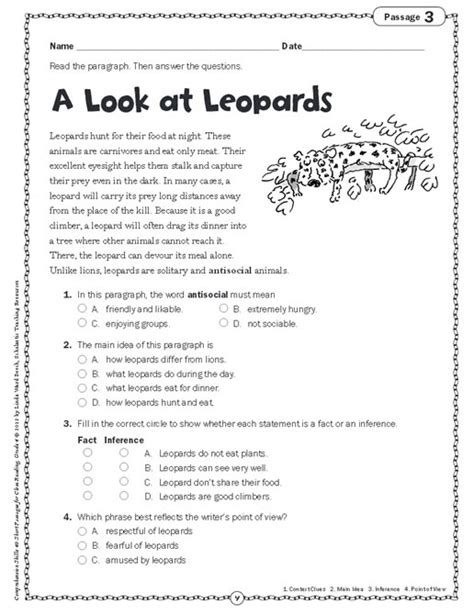 Grade 4 Comprehension Worksheets Free by Comprehension Skills Passages For Reading Grade 4