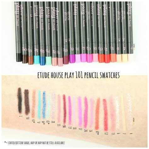 Etude Pencil 101 etude house play 101 pencils review swatches
