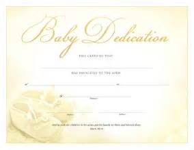 baby dedication certificate template certificate of dedication certificates church