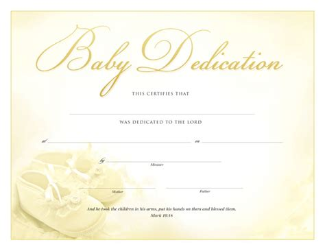 dedication template printable baby dedication certificate templates