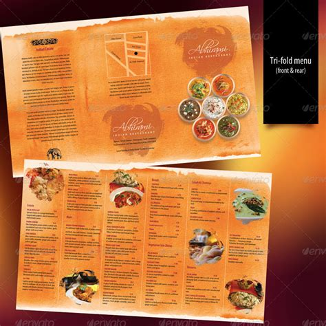 indian restaurant menu card template 15 premium tri fold menu card templates