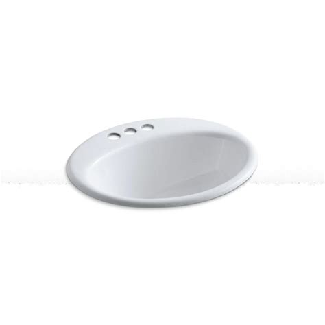 kohler farmington bathroom sink kohler farmington drop in cast iron bathroom sink in white
