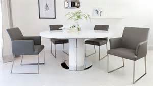 White Extendable Dining Table And Chairs Luxurious Contemporary Real Leather And Gloss Extending Set