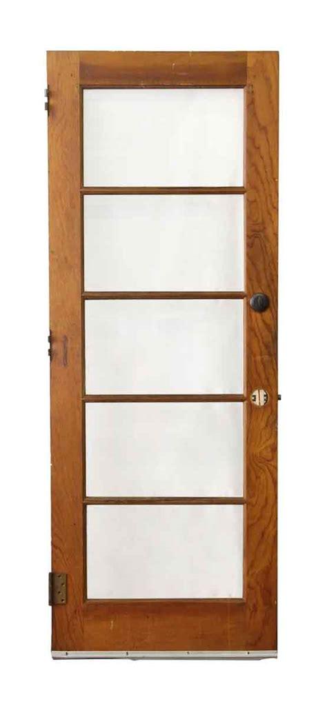 Wood Door With Five Horizontal Glass Panels Olde Good Things Wood Entry Doors With Glass Panels