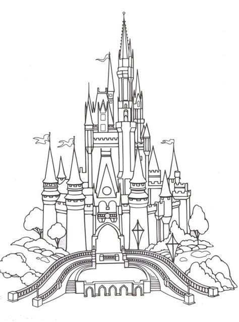 Castles Disney Castles And Coloring Pages On Pinterest | magic kingdom coloring page color me happy pinterest
