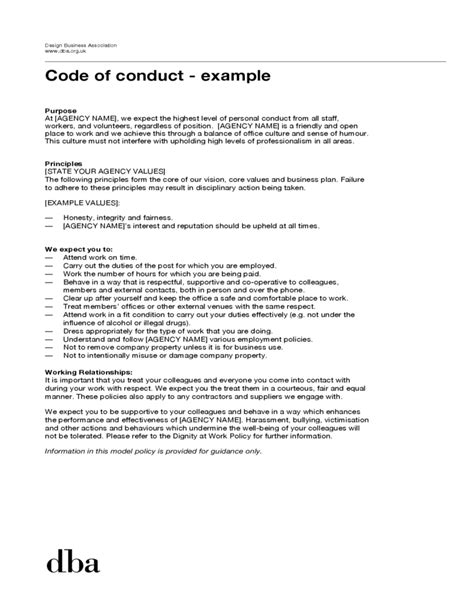 Code Template by Sle Code Of Conduct Exle Free