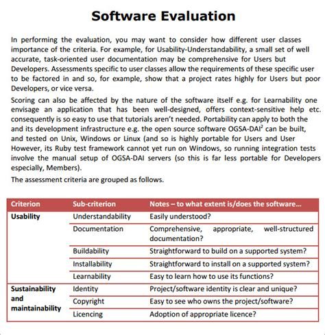 software evaluation template software evaluation 5 free for pdf sle