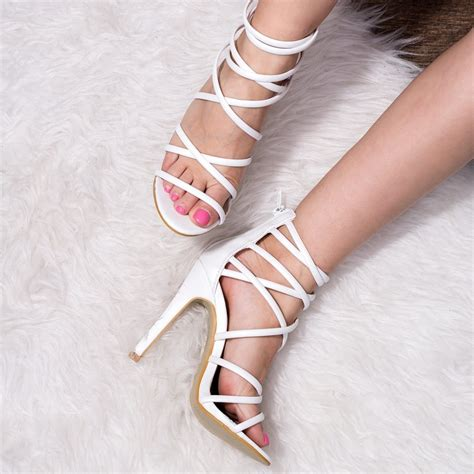 shoes sandals high heels uzi white sandals shoes from spylovebuy