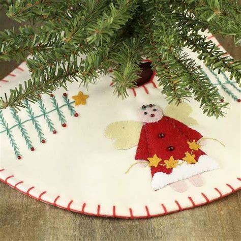 small christmas tree and angel embroidered tree skirt