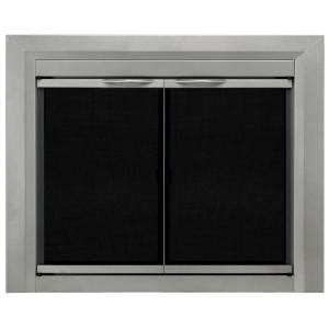 pleasant hearth colby small glass fireplace doors cb 3300
