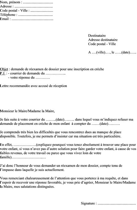 lettre demande de creche