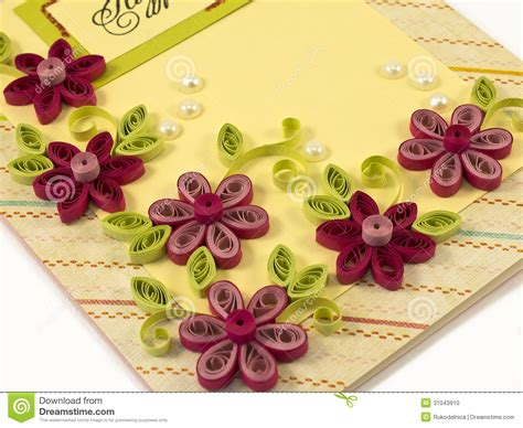 Paper Flowers For Card - hande made post card stock photo image 31043910