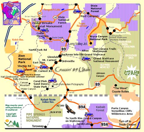printable map of zion national park southern utah map map southern utah