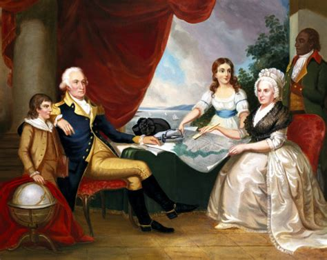 George And Martha Ls by George Washington And His Family Print By Edward