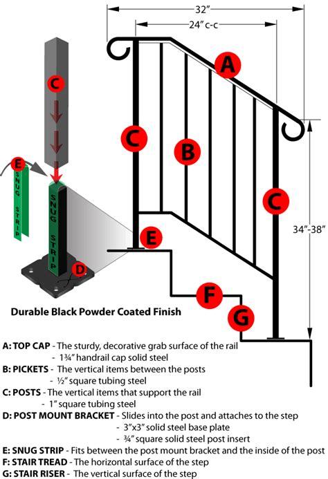 3 Step Handrail new iron railing handrail picket rail fits 2 or 3 step ebay