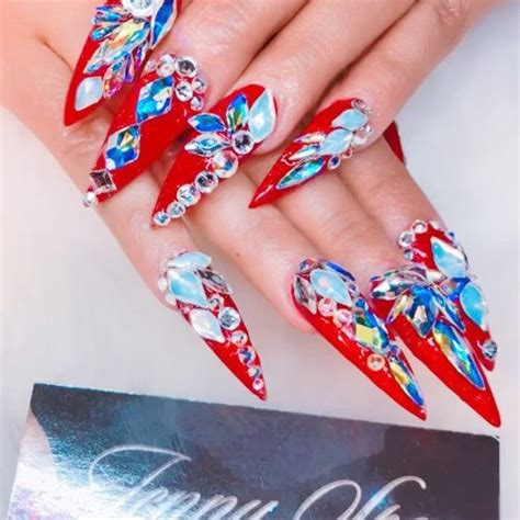 cardi b red jewels nail art stones studs nails steal