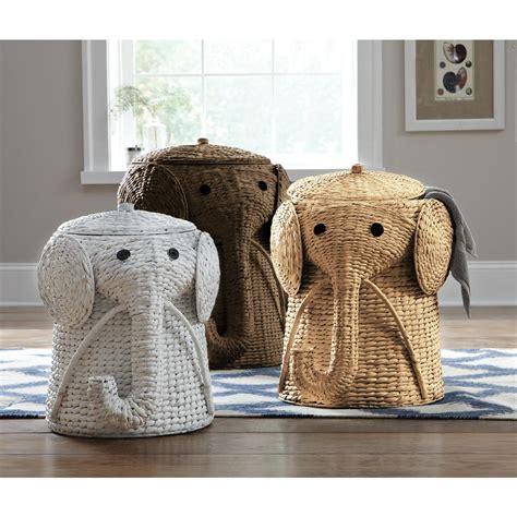 Elephant Laundry Her Wicker Basket Nursery Bin Toys Animal Laundry