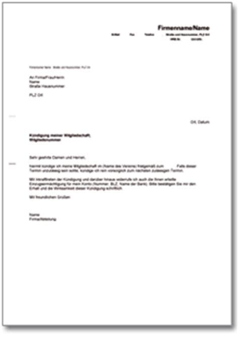 Musterbrief Für Gez Abmeldung K 252 Ndigung Der Mitgliedschaft In Einem Verein De Musterbrief