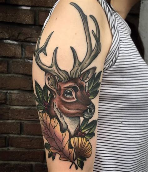traditional deer tattoo deer deertattoo neo traditional flower autumn leaf
