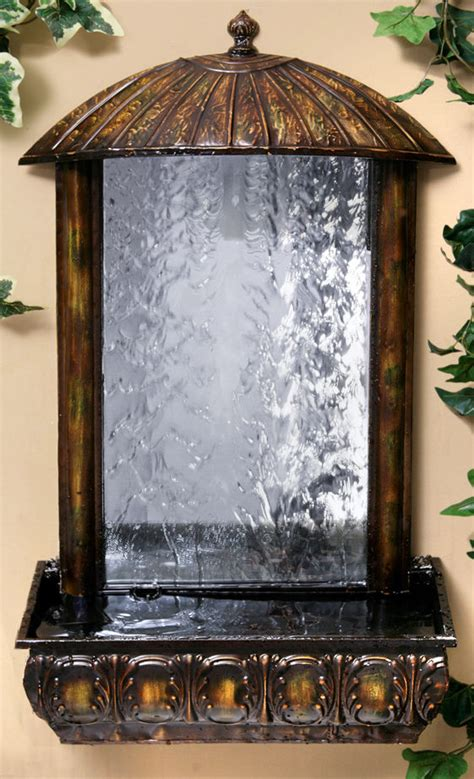 wall mounted water feature fountain mirror cascade