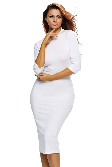 Mock Neck Sleeve Midi Dress white bodycon mock neck o ring accent cut out half sleeve