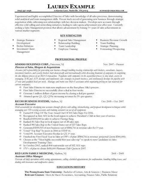 Resume Sles For Experienced Managers Sales Director Resume