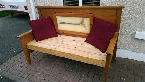repurposed bed frame repurposed double bed frame into a bench with hinged