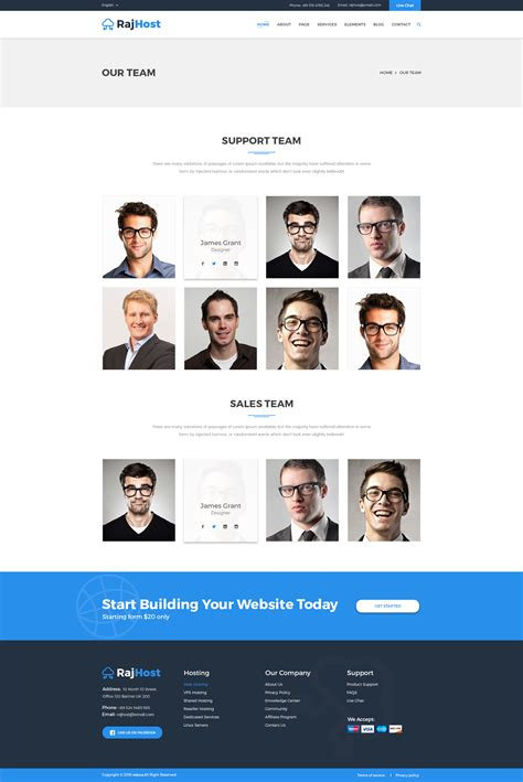 Rajhost Web Hosting With Psd Template By Regaltheme Themeforest Our Team Website Template